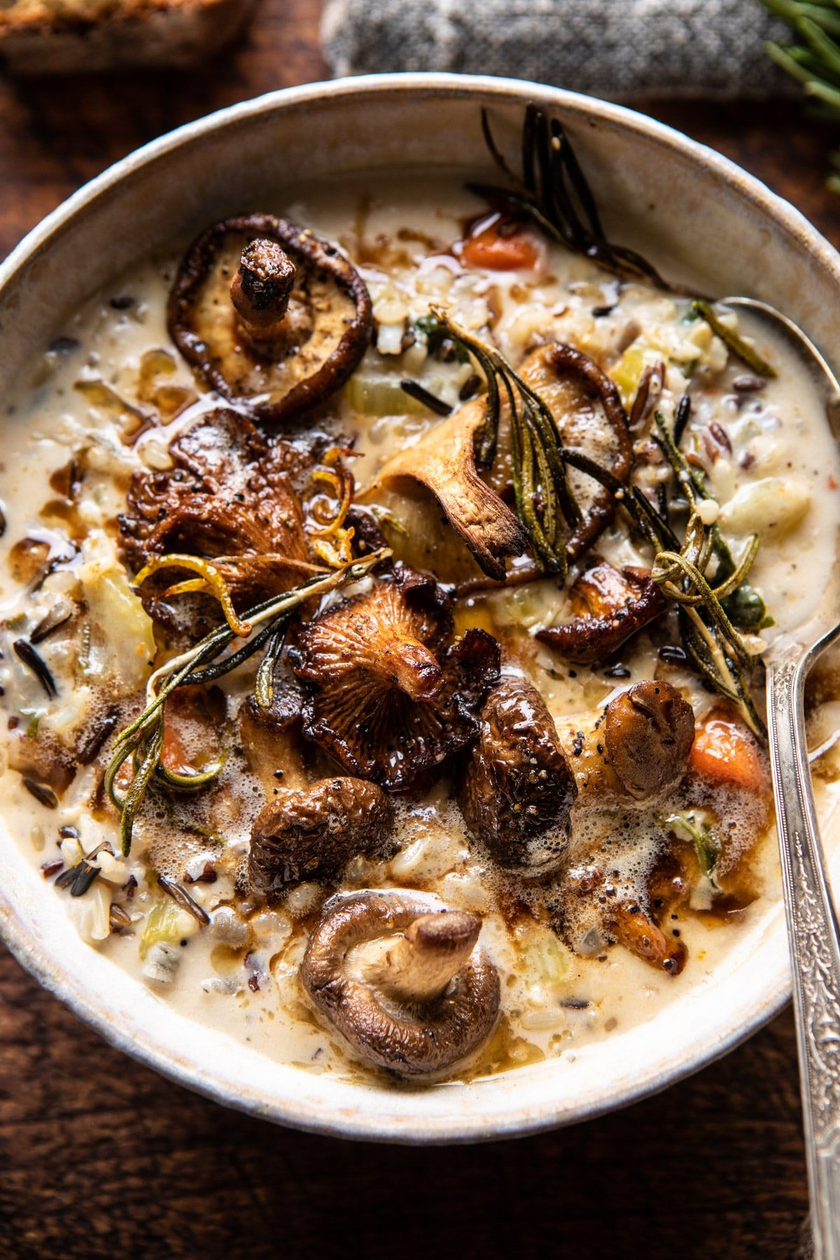 Creamy Wild Rice Chicken Soup with Roasted Mushrooms