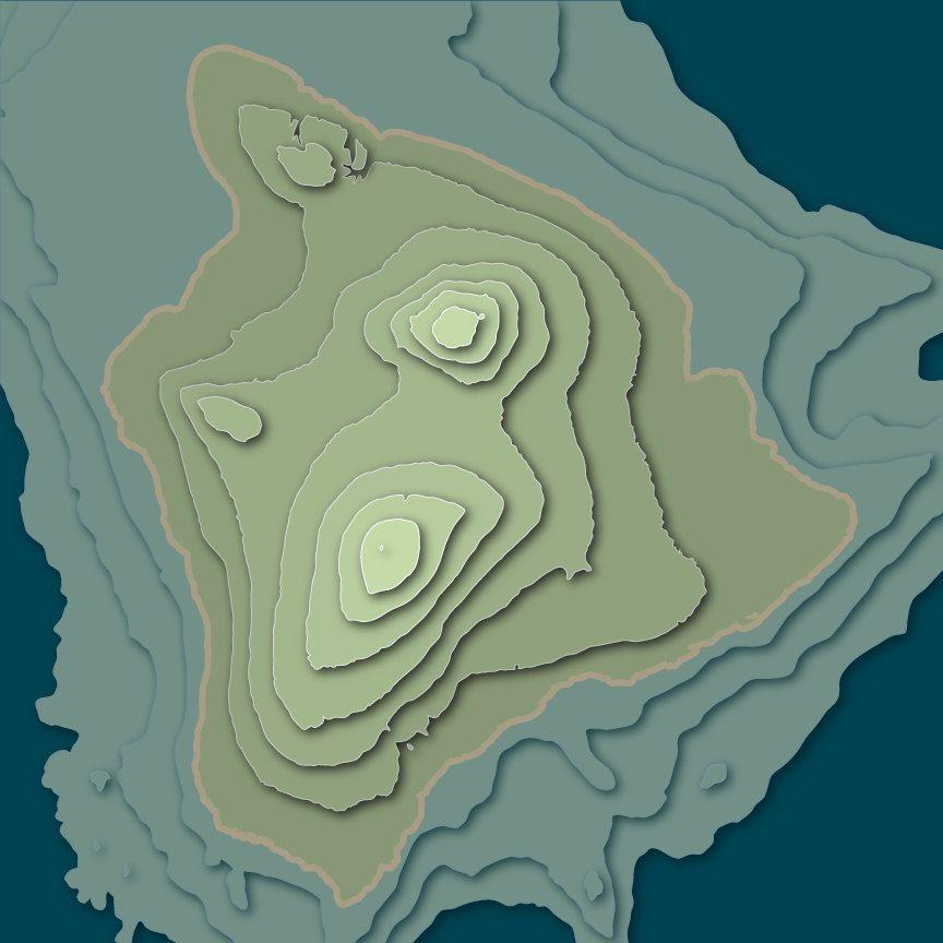 Island of Hawaii 3D Topographic Map   hawaii   Island map ...