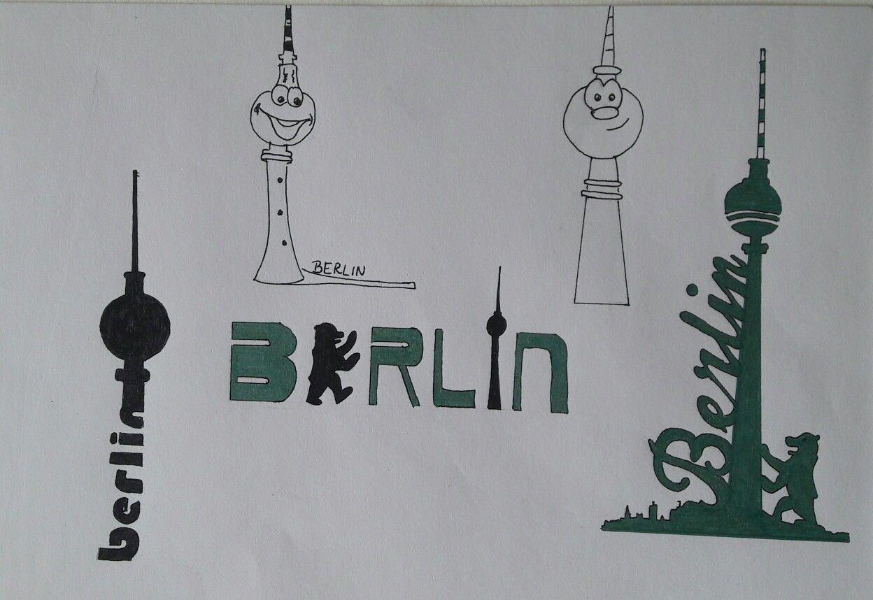 Berliner Fernsehturm Silhouette Und Schriftzuge Fernsehturm Schriftzug Fernseher