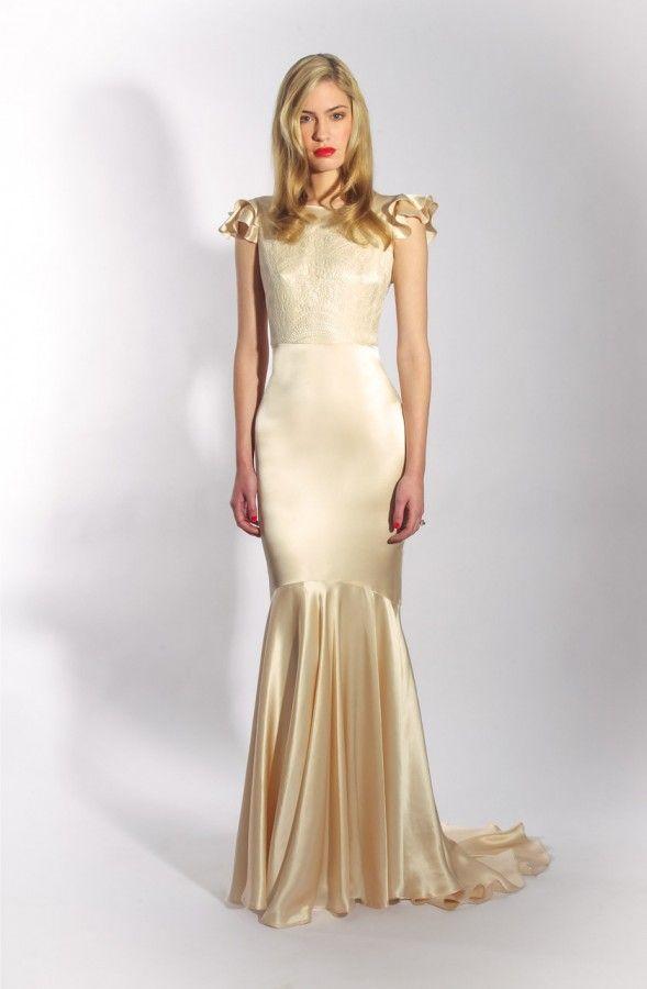 The Pearly Dress by Belle & Bunty London. Blush Silk Satin fishtail ...