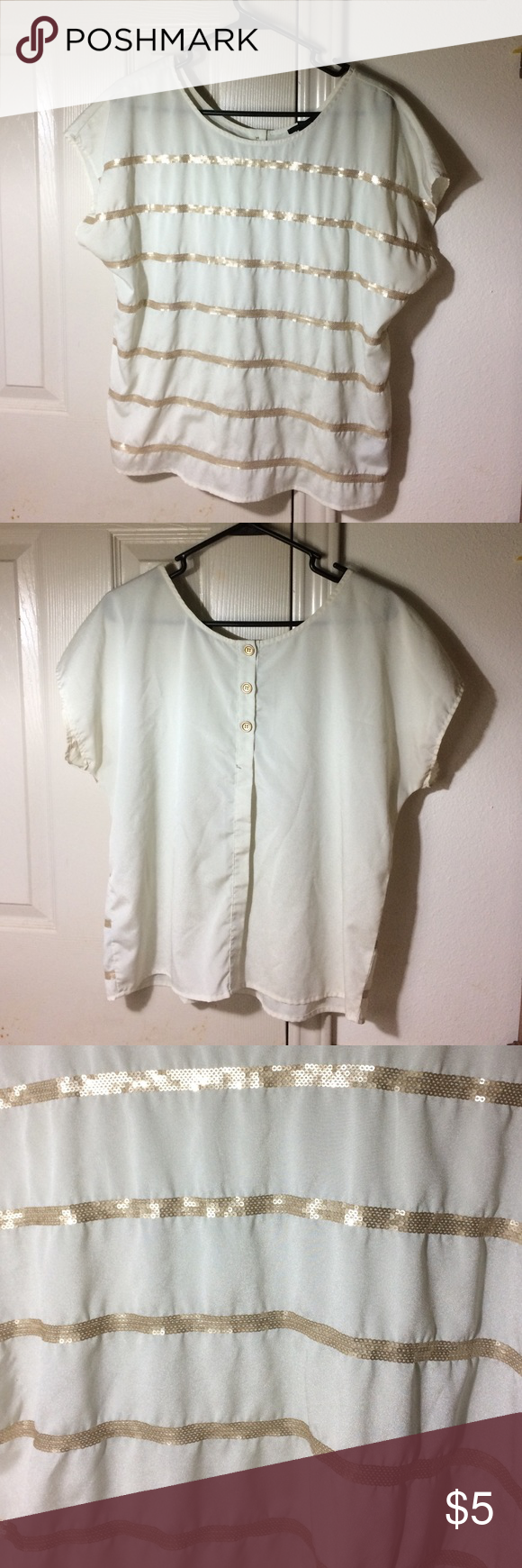 Forever 21 off white blouse w/ gold sequin strips Classy looking blouse with gold sequins and buttons on the back. Made out of 100% polyester, only worn once, like brand new. It's a size small in plus size. Forever 21 Tops Blouses