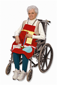 i'm making you one of these with a giant embroidered snowman on it.  oh. . . and i'll make myself a matching one for when we end up in the nursing home together!    Activity Aprons - to keep fidgeting fingers purposefully occupied : Activites for Elderly People