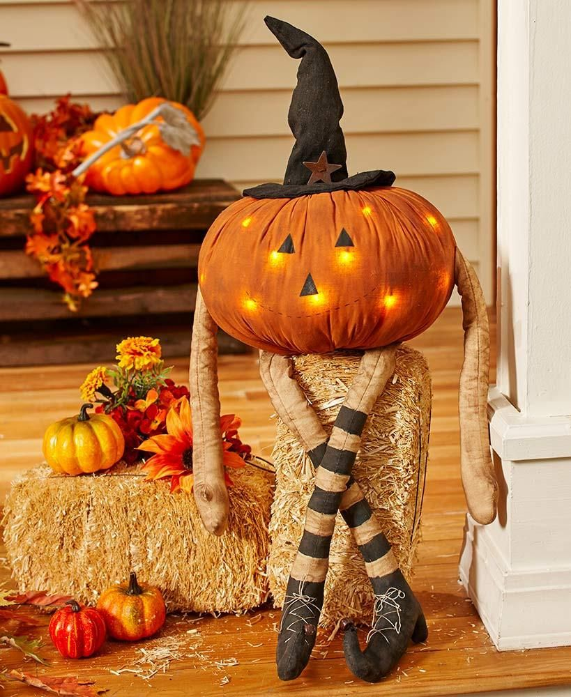 Outdoor Fall Decorating Pumpkin Ideas: Rest The LED Pumpkin Man On A Bench, Porch Or Hay Bale Out