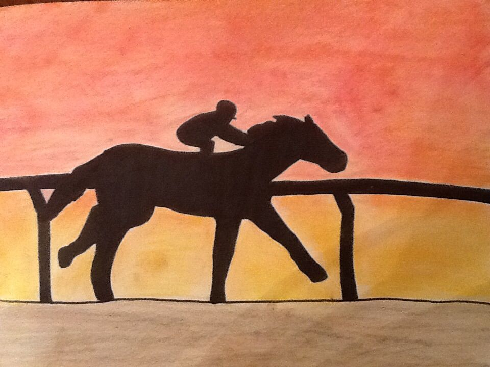 Racehorse in the sunset  Pastel