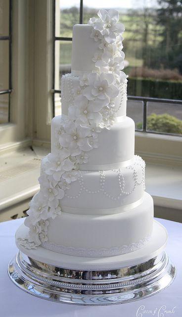 5 Petal Flower Cascade Wedding Cake By Cotton Crumbs
