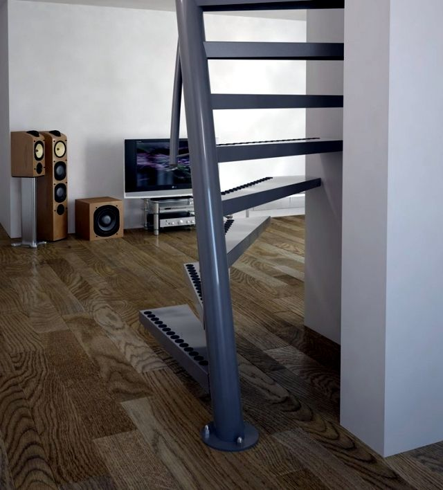 Compact Spiral Staircase: Square Spiral Staircase 1m2 ® With Small Dimensions