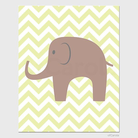 Chevron Nursery Elephant Wall Art Print Kids Children by ofCarola, $15.00