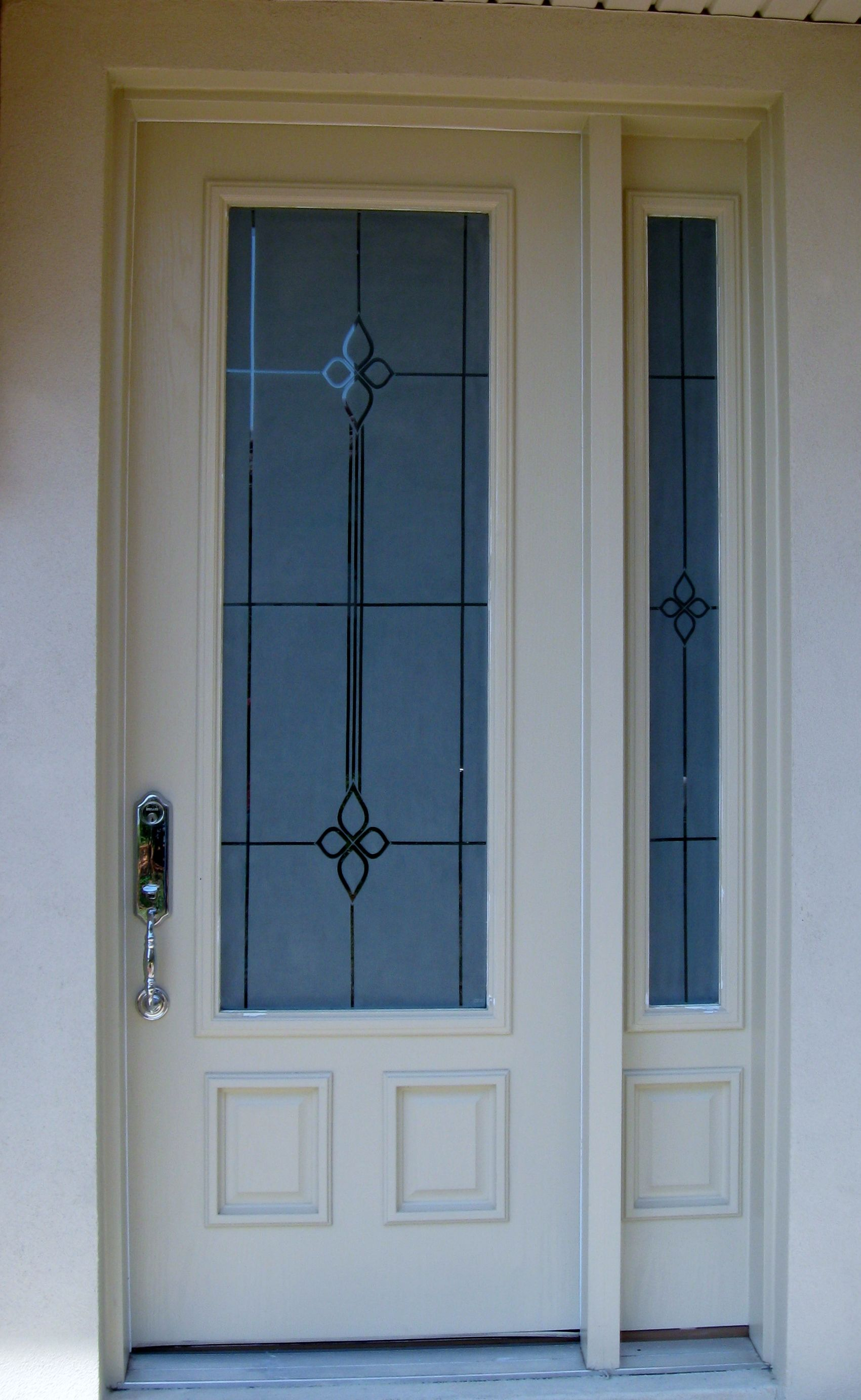 Etched Entry door and side lite, etched for privacy | My art glass ...