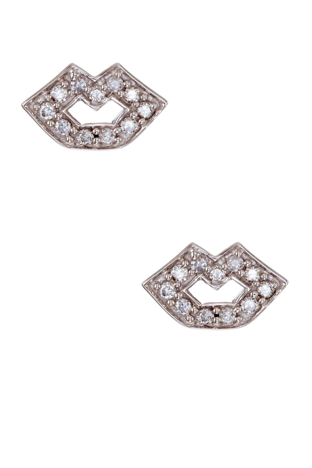 14k White Gold Diamond Lips Stud Earrings Joyas Pinterest