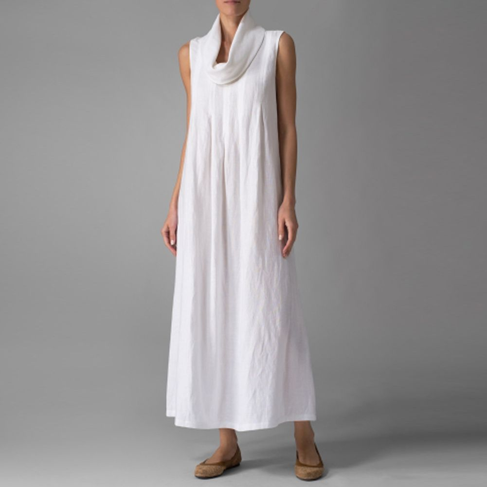 New women casual draped vintage loose oversized long linen dress