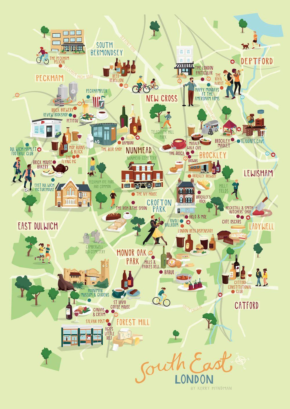 East London Uk Map.South East London Map Illustration Kerryhyndman Co Uk Maps In 2019