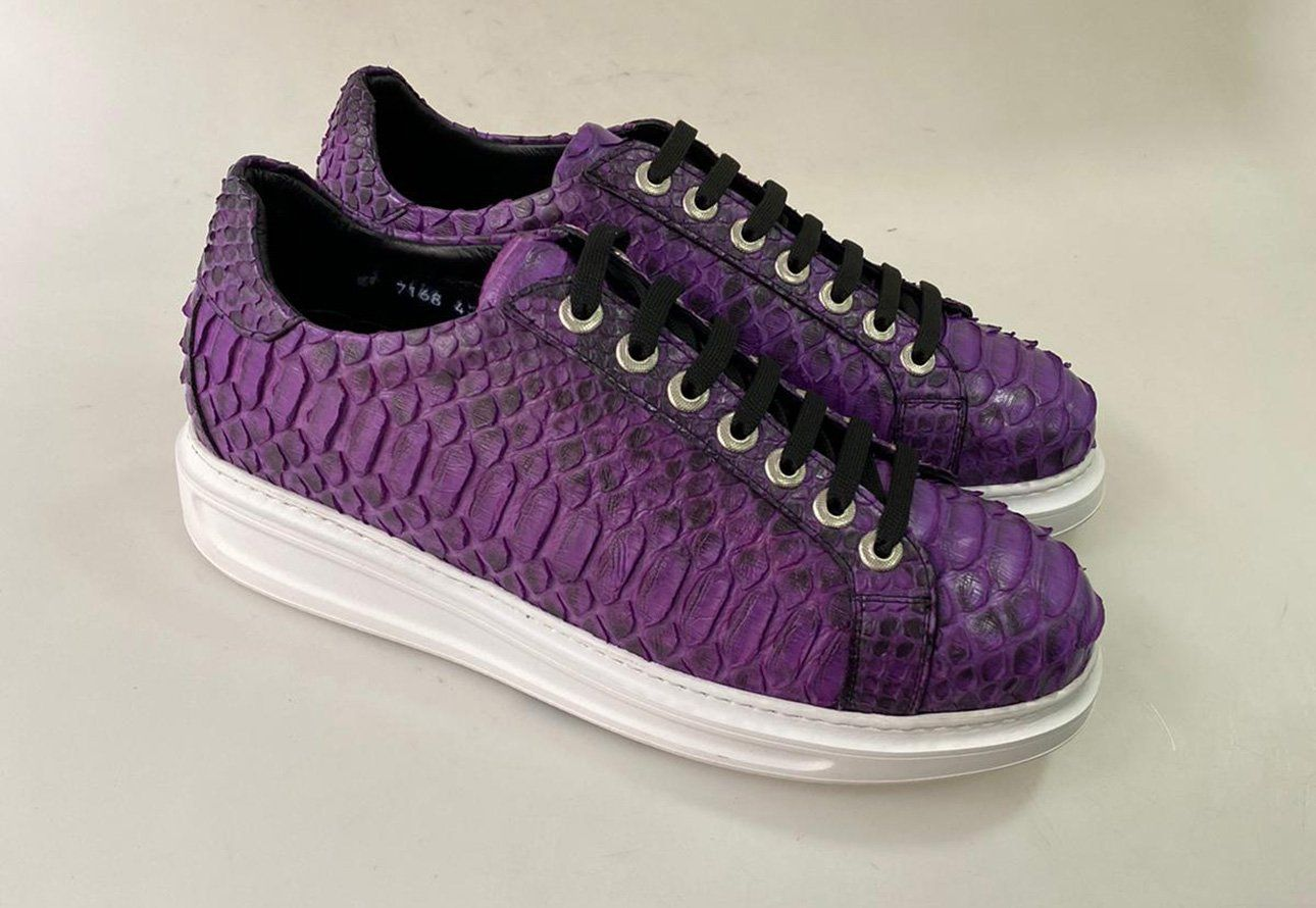 Gallery TucciPolo 2021 Special Edition Men's Sporty Handmade Purple Real Python Leather Luxury Sneaker with Eva Sole   6 / Wide E 2E is free HD wallpaper.
