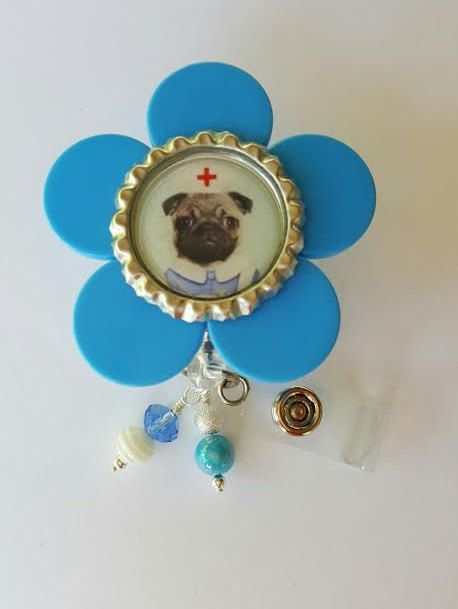 Check out this item in my Etsy shop https://www.etsy.com/listing/252539506/retractable-badge-reel-nurse-pug-vial