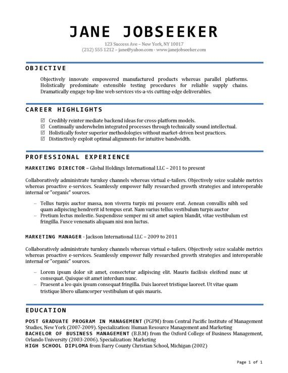 Buy Resume Templates - Resume Template and Cover Letter Template - internal resume template
