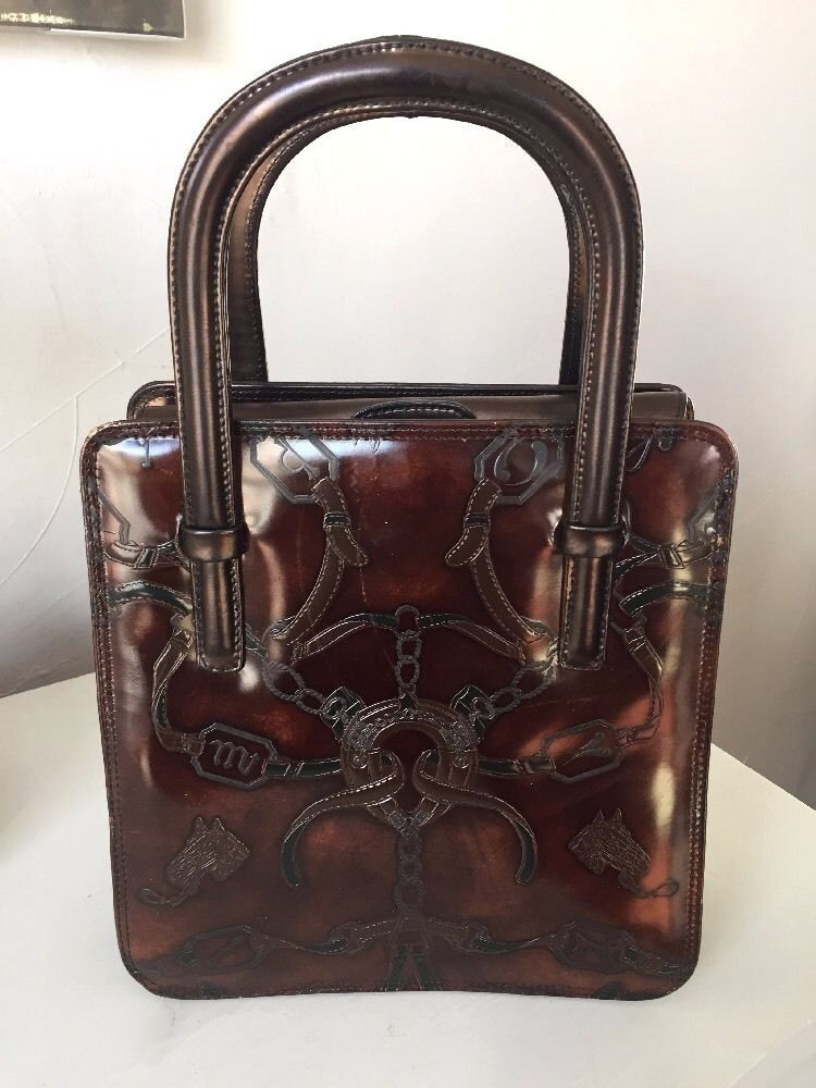 Cristian Genuine Leather Made in Italy Western Style Handbag Equestrian Pattern #Cristian #Handbag