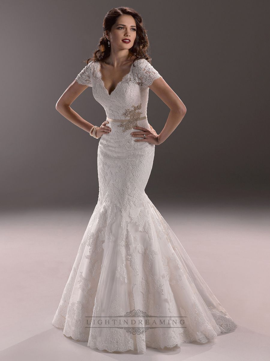 Elegant plunging v neck short sleeves mermaid open back for Best wedding dresses with sleeves