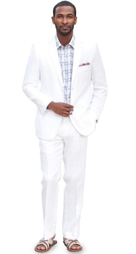 Sku Ul4d Slim Fit Linen Suit White 275 Mens Suits 2 Button