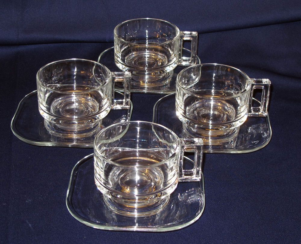 Vintage Clear Glass Square Handle Coffee Tea Cups Made In Italy Tea Cups Glass Tea Cups Coffee Tea Cups