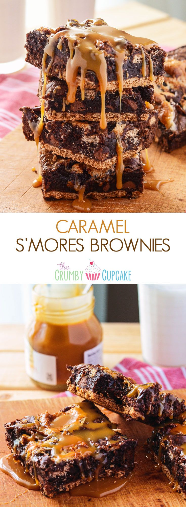 Caramel S'mores Brownies   Amazingly easy gooey s'mores brownies, stuffed with caramel, chocolate chunks & marshmallow, set on a graham cracker crust & drizzled with more caramel.
