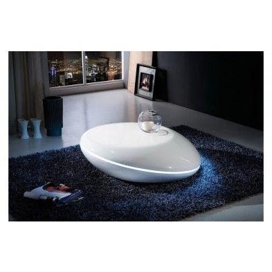 Table Basse Blanc Laque Design Galet Led Design Appartement