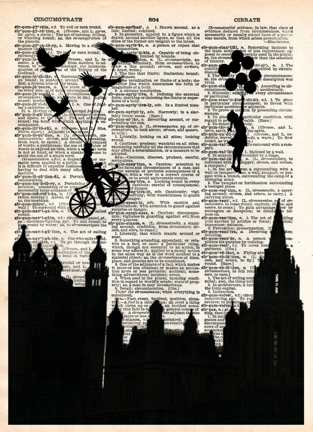 ART PRINT ORIGINAL VINTAGE MUSIC SHEET Page HARE BALLOON BIKE Old Picture Poster