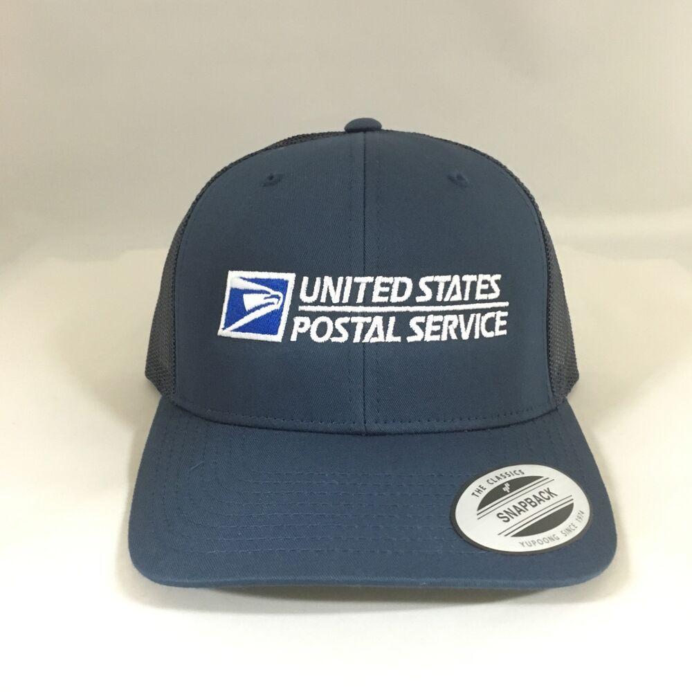 USPS Snapback Cap United States Postal Service Mesh Classic Trucker Hat Black