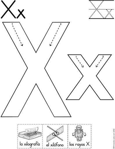 letra x fichas del abecedario y el alfabeto para descargar gratis ...
