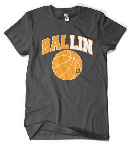 Cybertela Ballin 17 Jeremy Lin Mens T-shirt Asian Basketball Player Tee (Charcoal Medium)