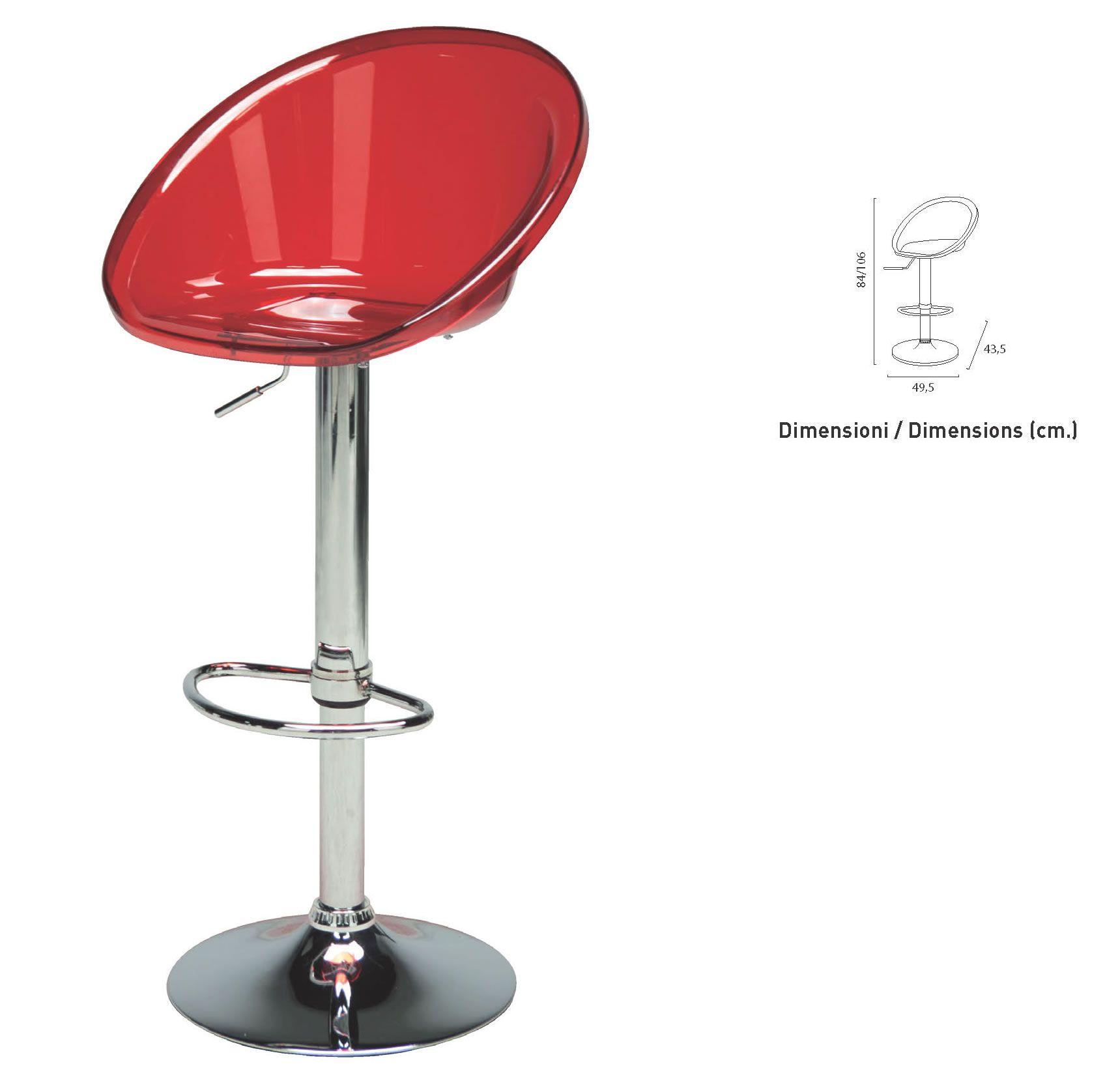 Sgabello bar elevabile con seduta in policarbonato e base ...