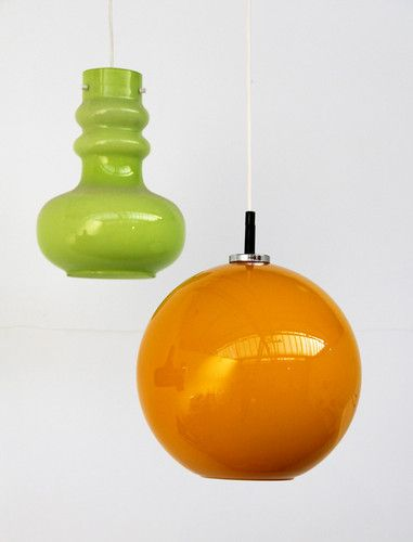 Large Orange Yellow Cased Glass Ceiling Lamp Light 1960's