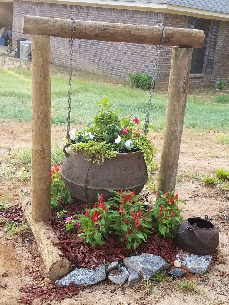 Cast Iron Wash Pot Flower Bed Garden Ideas Driveway Gardening