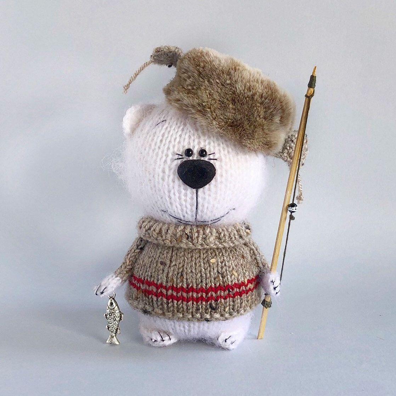 Amigurumi White Polar Bear, Gift For Fisherman, Stuffed