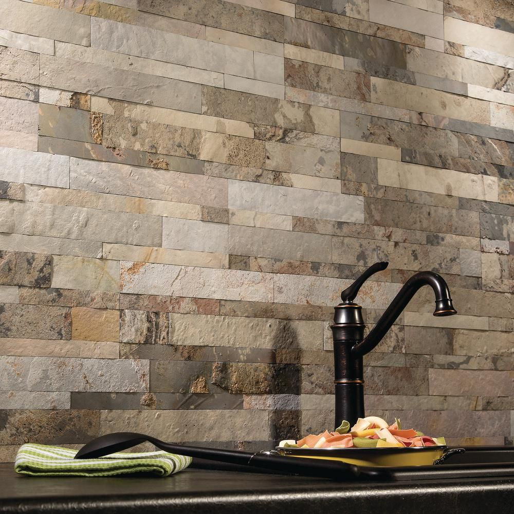 Aspect 23 6 In X 5 9 In Medley Slate Peel And Stick Stone Decorative Tile Backs In 2020 Rustic Kitchen Backsplash Decorative Tile Backsplash Stone Backsplash Kitchen