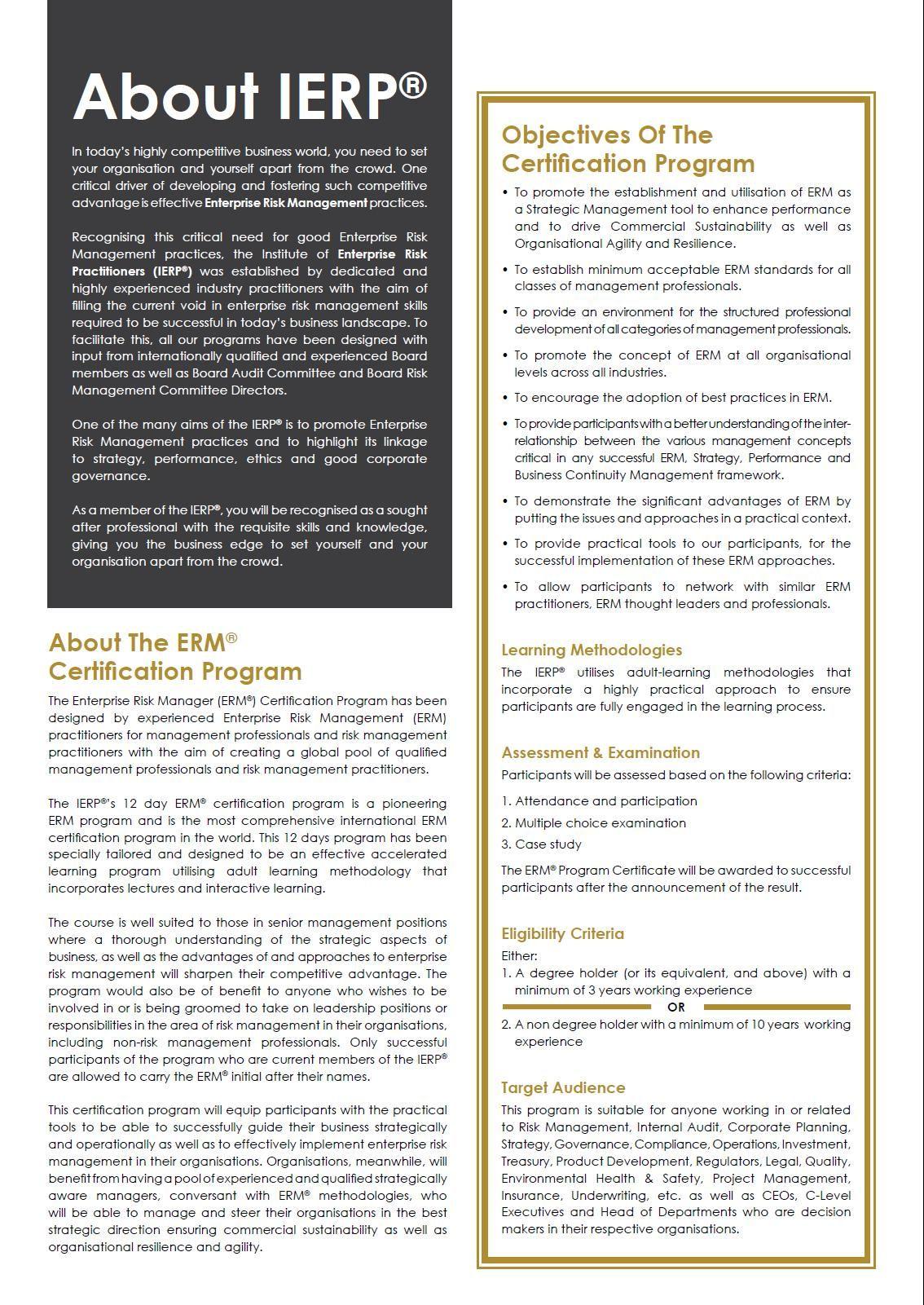 The Enterprise Risk Manager Erm Certification Program Has Been