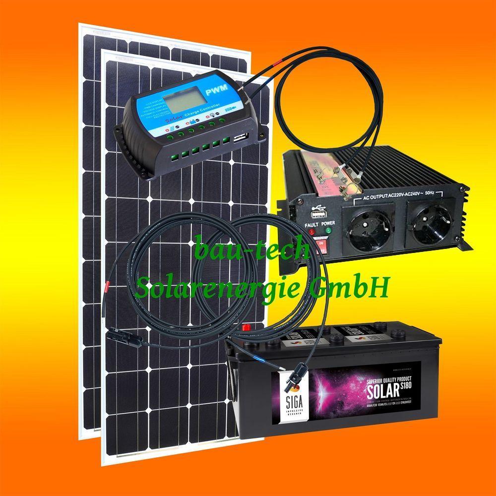 200 Watt Camping Solaranlage 12 Volt Set Wahlbar Spannungswandler Batterie Ebay Solaranlage Wohnmobil Solaranlage Solar