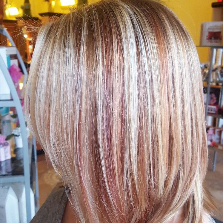 Rose Gold Red And Blonde Balayage With Wella Color Blonde Hair With Highlights Strawberry Blonde Hair Hair Color Rose Gold