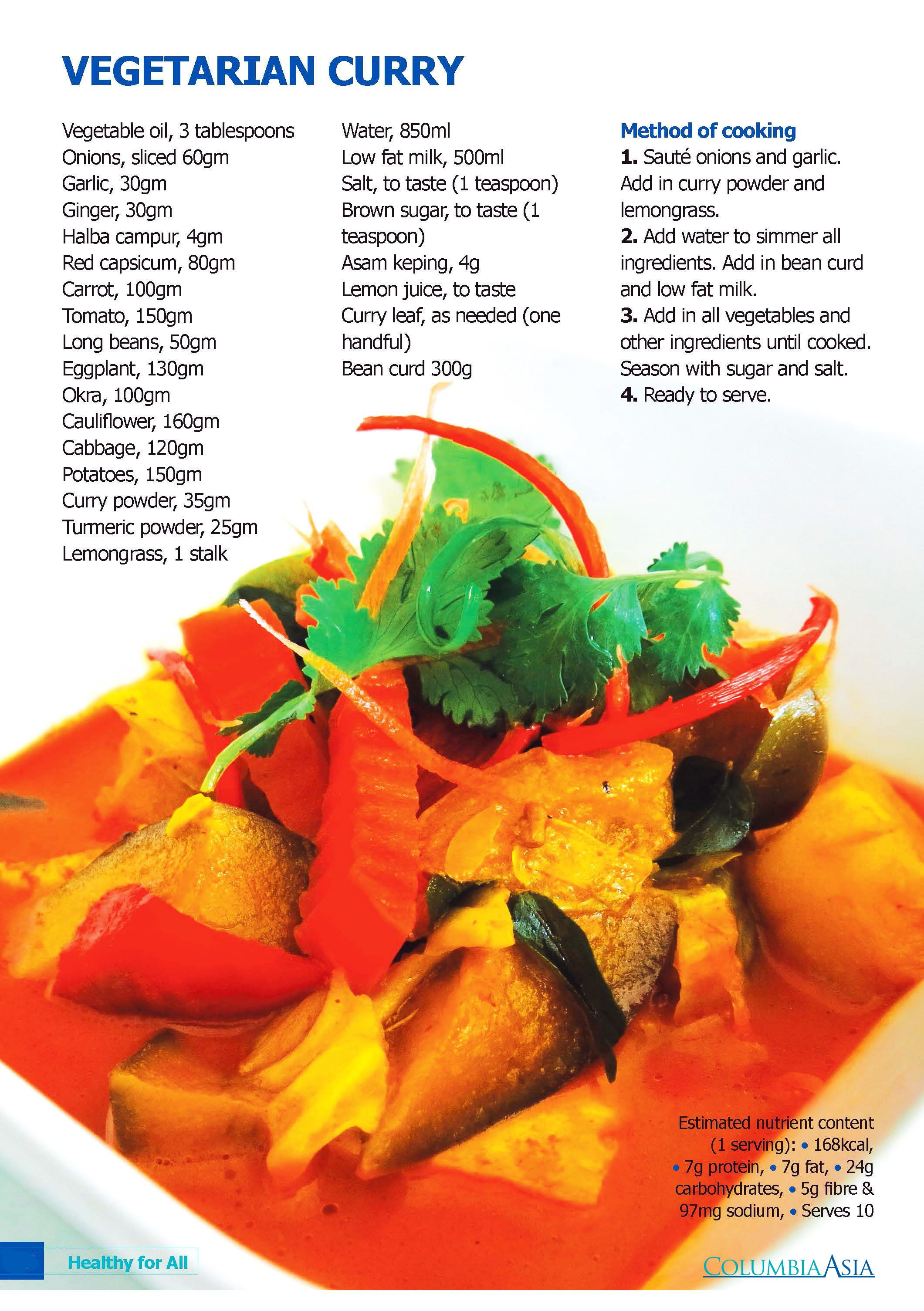 Obsessed with curry but worry about the calories? Try this healthy Vegetarian Curry recipe with just 168kcal.  #CADiabetesMC2015 #CafeColumbia #CADiabetes