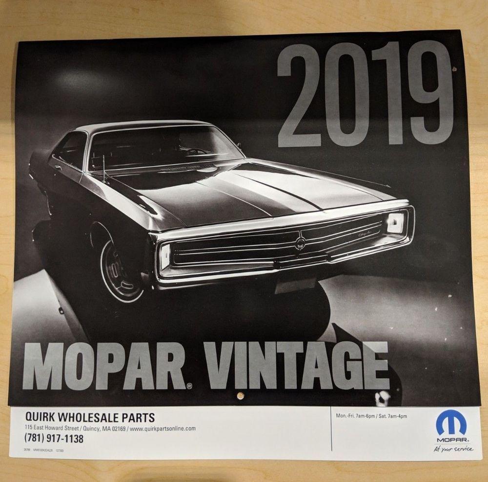 New Oem 2019 Mopar Muscle Car Calendar 12 Month Vintage Dodge