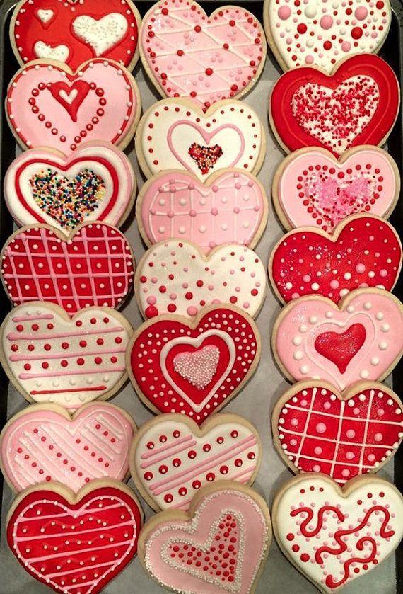 Heart Valentine Cookies One Dozen Custom Decorated Sugar Cookies