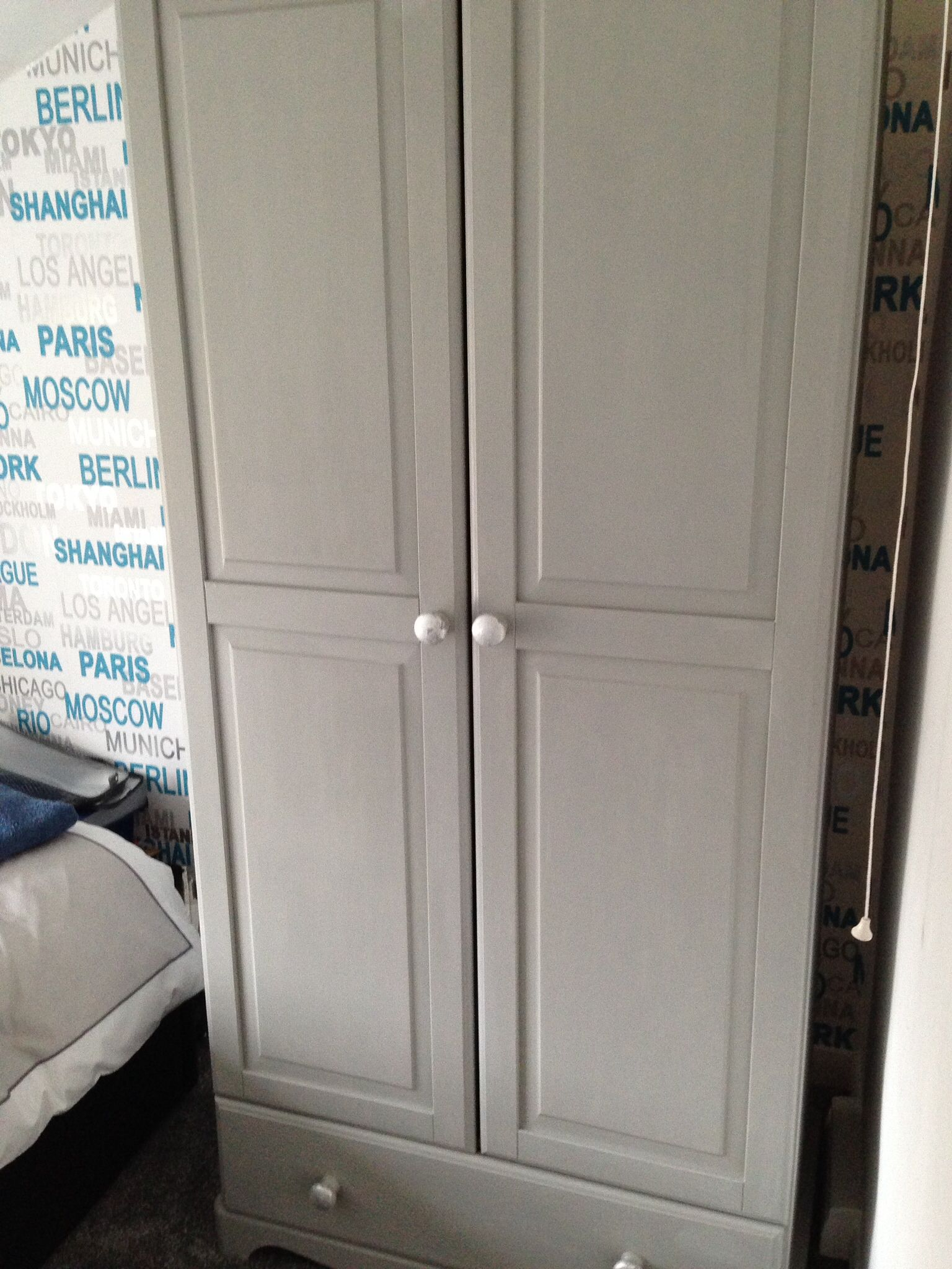 Upcycled Wardrobe In Paris Grey Chalk Paint Grey Boys Rooms