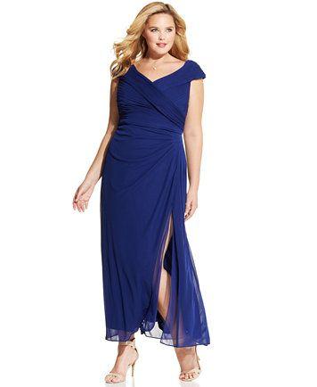 Alex Evenings Plus Size Portrait Collar Side Slit Gown Macyscom