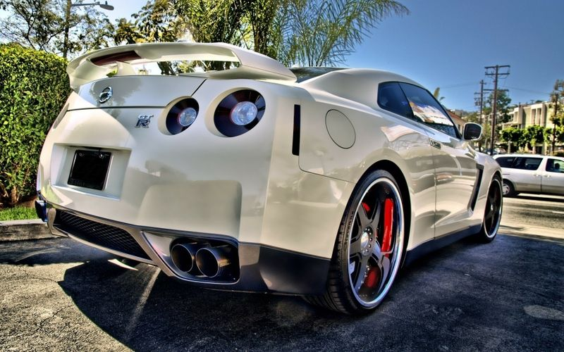 Custom Pearl Nissan GT R With Black Wheels And Smoked Tails