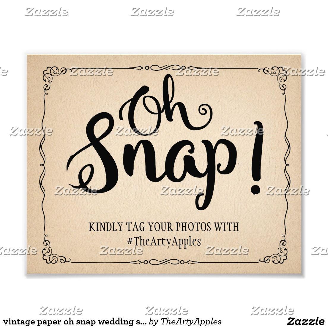 Wedding Hairstyle Hashtags: Vintage Style Oh Snap Wedding Sign Hashtag