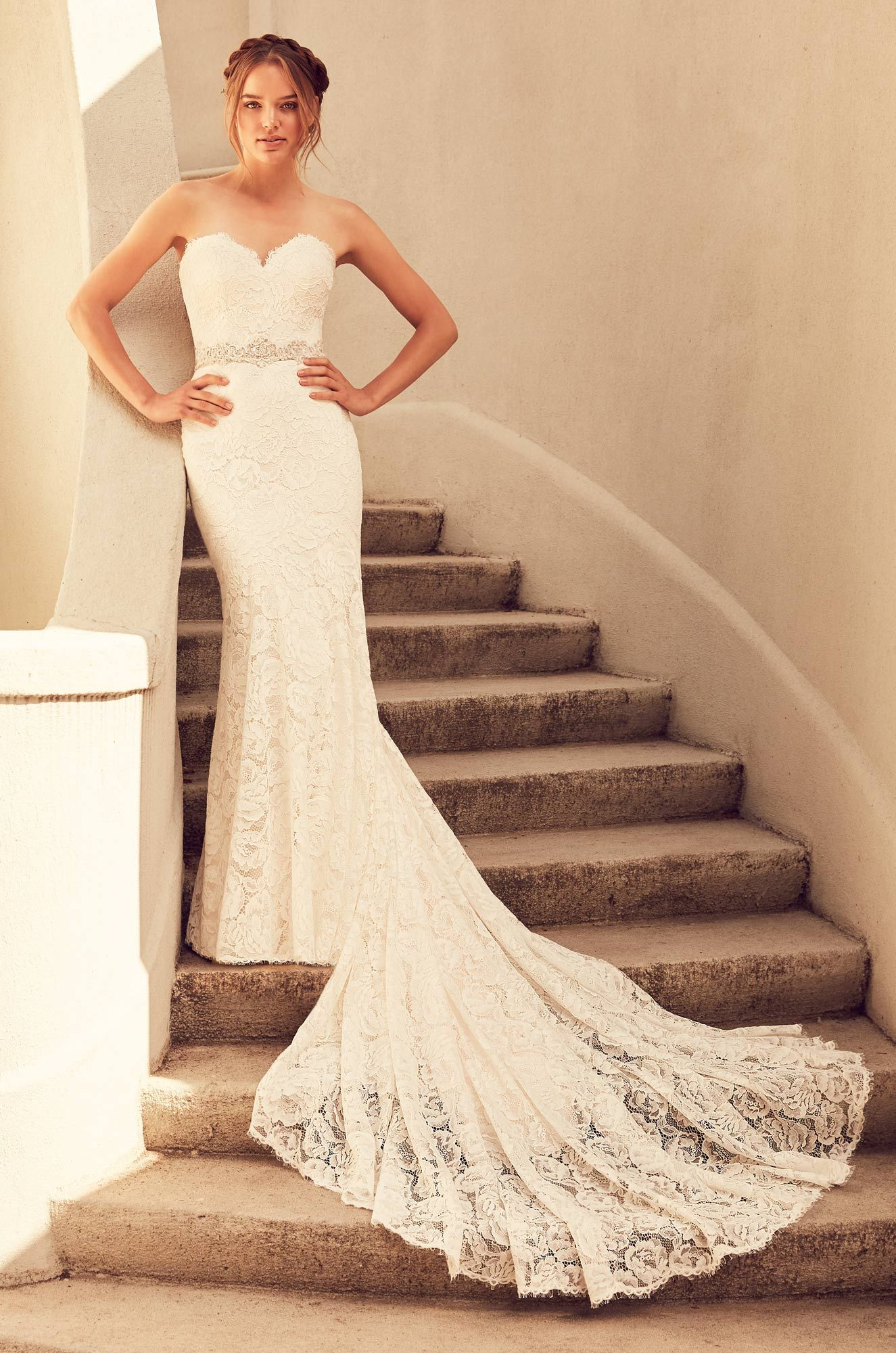 Dramatic Lace Train Wedding Dress Style 4797 Fit