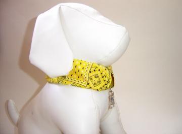 Yellow Bandana Print Pet Collar Slipcover, a bandana alternative #zibbet