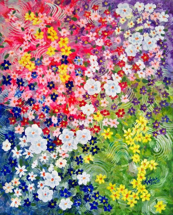 Flower Garden Paintings flower garden painting | art ideas for me and school | pinterest