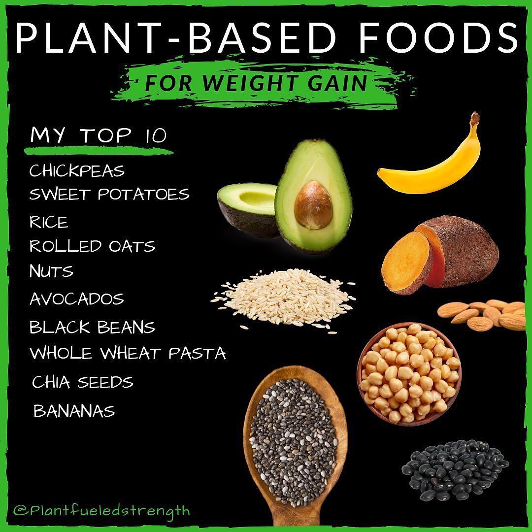 My top 10 foods for my bulks!  (In no particular order)  _ The choosing of these 10 is partially just out of my own preference but the whole plant foods on this list are a perfect combination of high caloric density convenience and affordability. I can say the majority of all weight Ive put on has been thanks to these guys. - Time matters and there arent many foods quicker to cook than sweet potato pasta rice oatmeal and legumes like chickpeas and black beans. Even if you failed to meal prep you