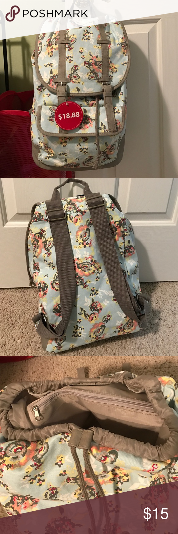 floral draw string top backpack brand new with tags backpack originally $18.88 No Boundaries Bags Backpacks