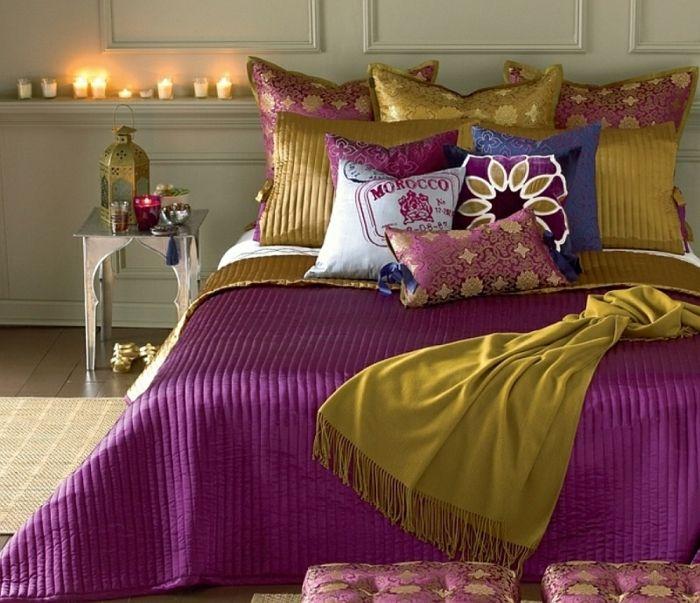Schlafzimmer Design industrie teppich marokko olive grün lila