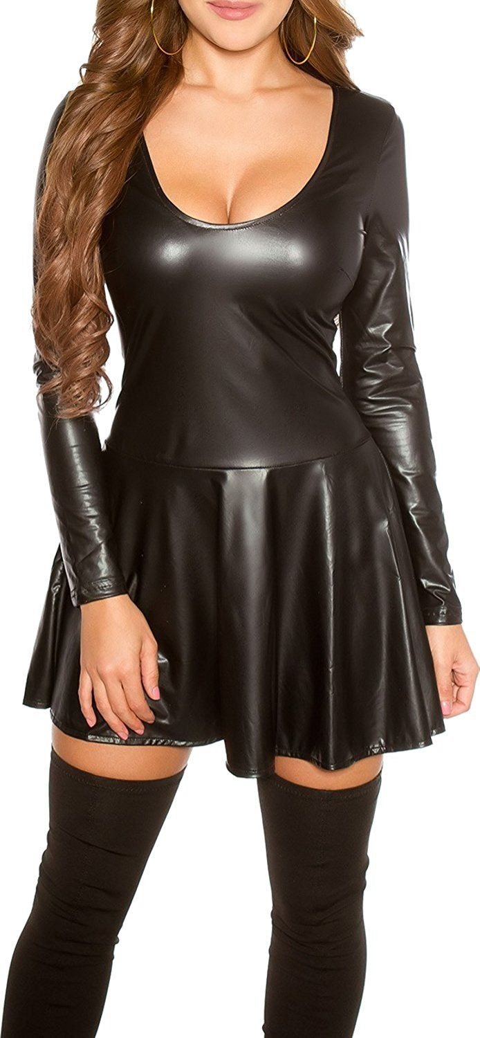 Koucla Damen Kleid Mini Wet-Look Leder-Optik Langarm Minikleid ...